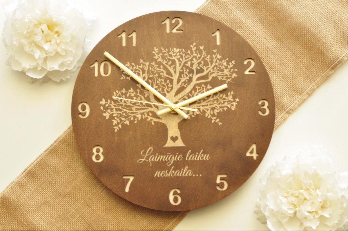 koka sienas pulkstenis - koks (valrieksts)