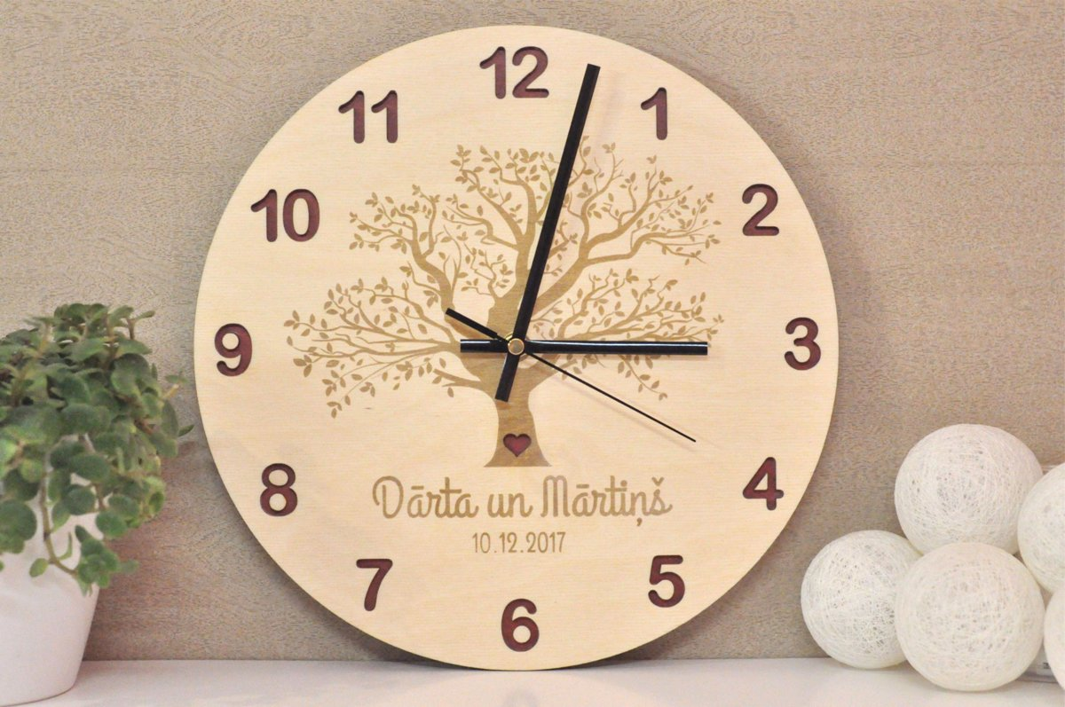 koka sienas pulkstenis - koks