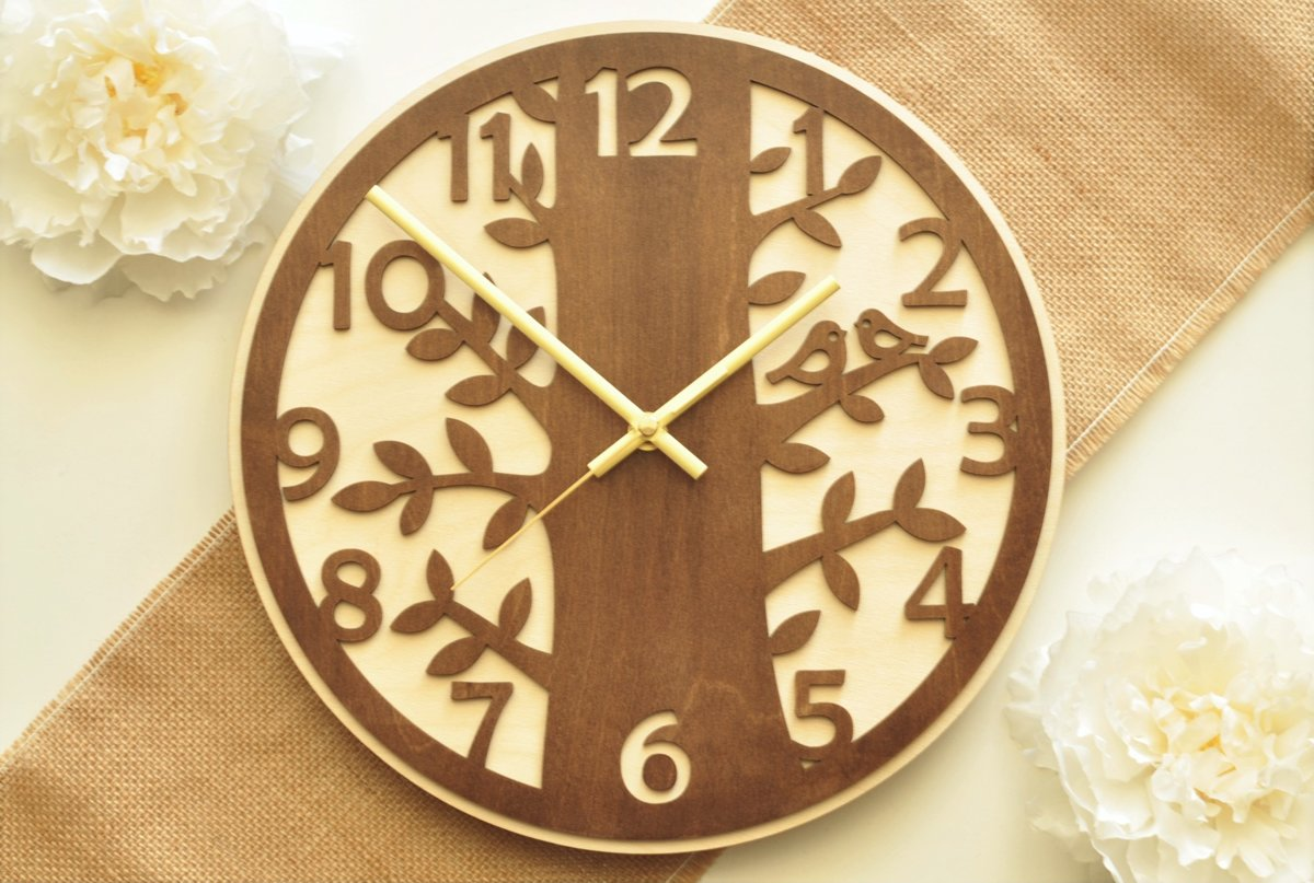 koka sienas pulkstenis - putni kokā (valrieksts)